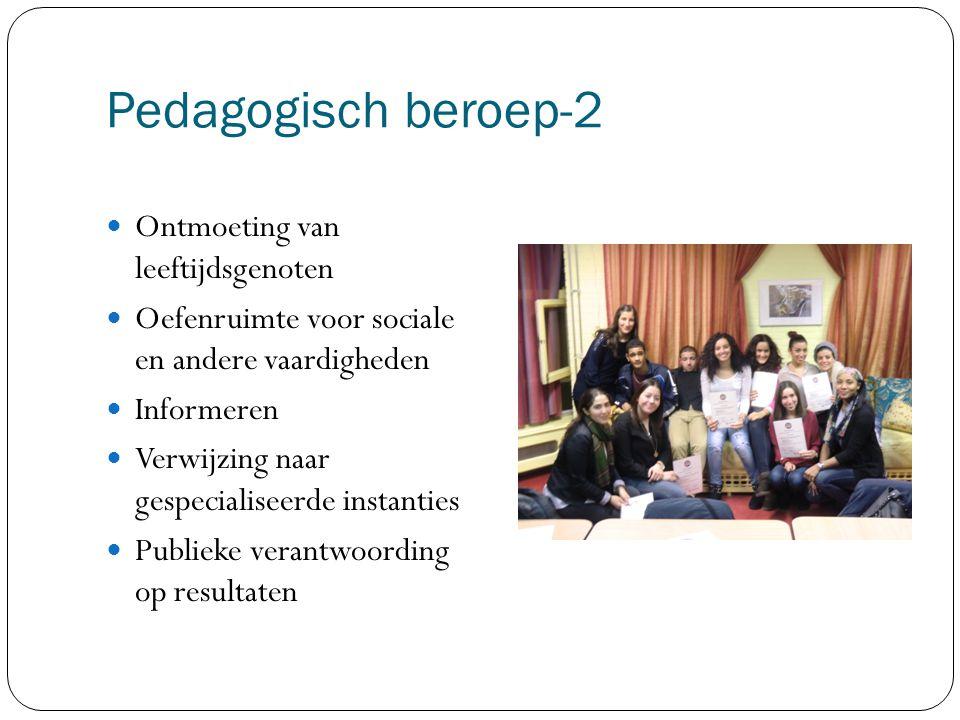 Pedagogisch beroep-2 Ontmoeting van leeftijdsgenoten Oefenruimte voor sociale en andere vaardigheden Informeren Verwijzing naar gespecialiseerde instanties Publieke verantwoording op resultaten