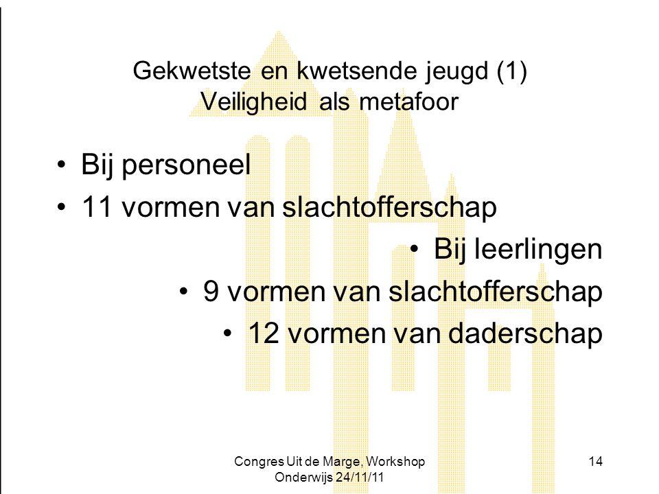 Congres Uit de Marge, Workshop Onderwijs 24/11/11 14 Gekwetste en kwetsende jeugd (1) Veiligheid als metafoor Bij personeel 11 vormen van slachtoffers