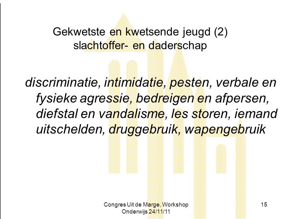 Congres Uit de Marge, Workshop Onderwijs 24/11/11 15 Gekwetste en kwetsende jeugd (2) slachtoffer- en daderschap discriminatie, intimidatie, pesten, v