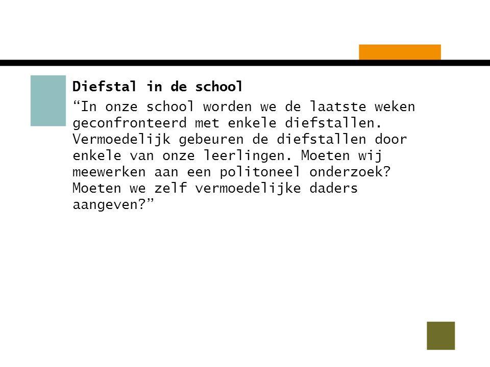 Diefstal in de school In onze school worden we de laatste weken geconfronteerd met enkele diefstallen.