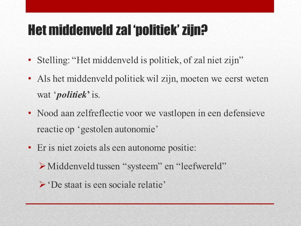 Het middenveld zal 'politiek' zijn.