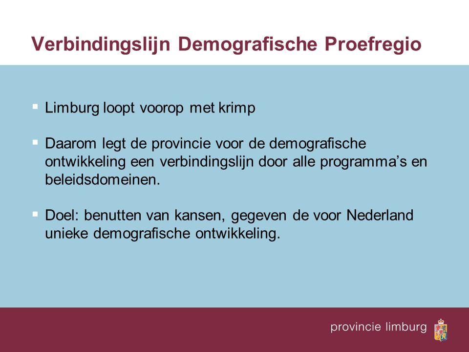Verbindingslijn Demografische Proefregio  Limburg loopt voorop met krimp  Daarom legt de provincie voor de demografische ontwikkeling een verbinding