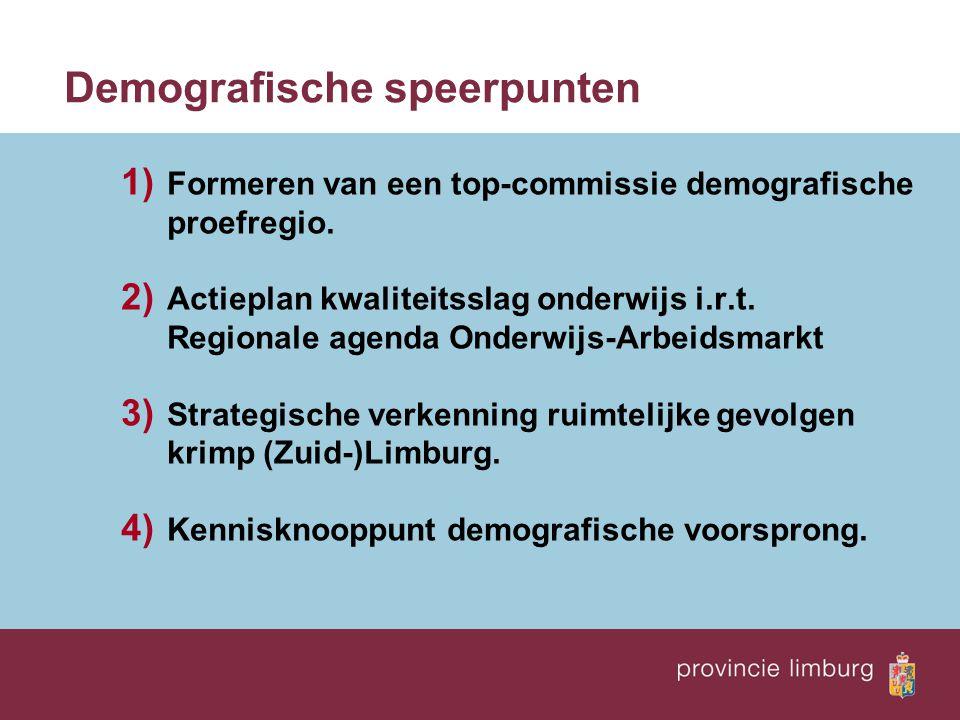 Demografische speerpunten 1) Formeren van een top-commissie demografische proefregio. 2) Actieplan kwaliteitsslag onderwijs i.r.t. Regionale agenda On
