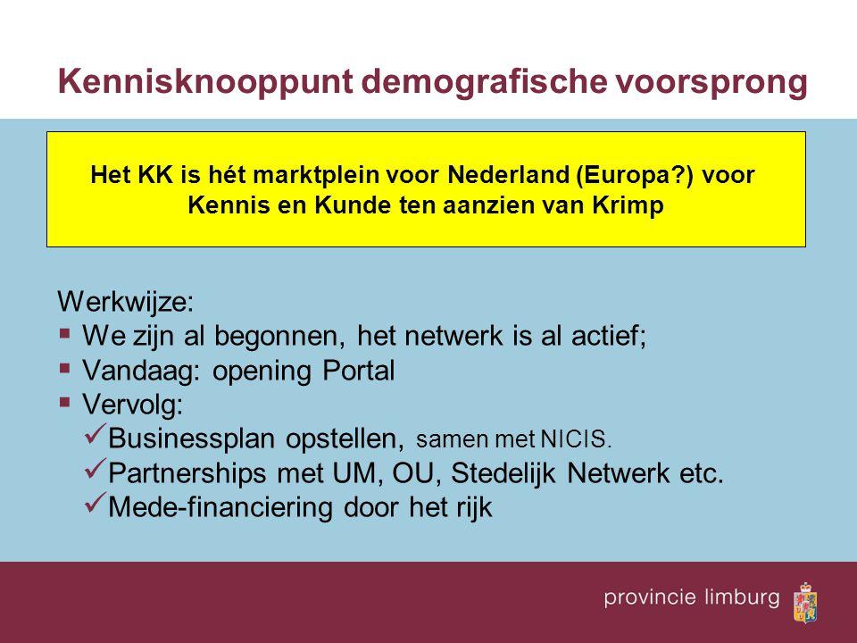 Kennisknooppunt demografische voorsprong Werkwijze:  We zijn al begonnen, het netwerk is al actief;  Vandaag: opening Portal  Vervolg: Businessplan