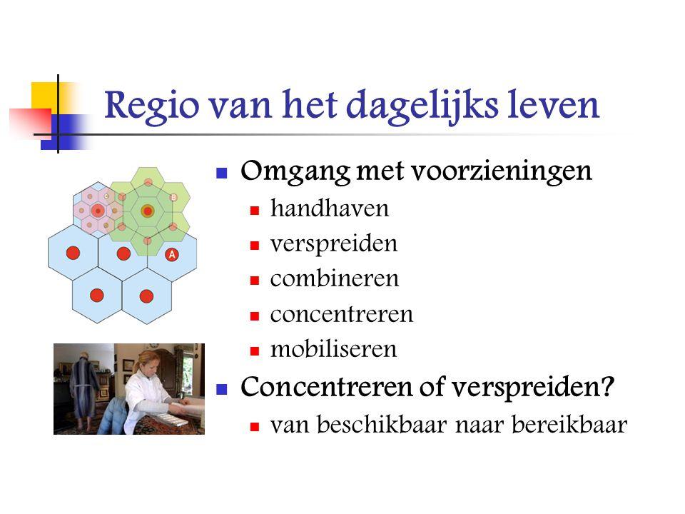 Regio van het dagelijks leven Omgang met voorzieningen handhaven verspreiden combineren concentreren mobiliseren Concentreren of verspreiden? van besc
