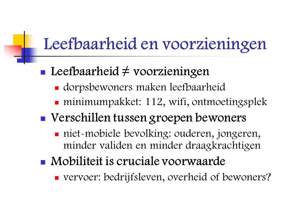 Leefbaarheid en voorzieningen Leefbaarheid ≠ voorzieningen dorpsbewoners maken leefbaarheid minimumpakket: 112, wifi, ontmoetingsplek Verschillen tuss