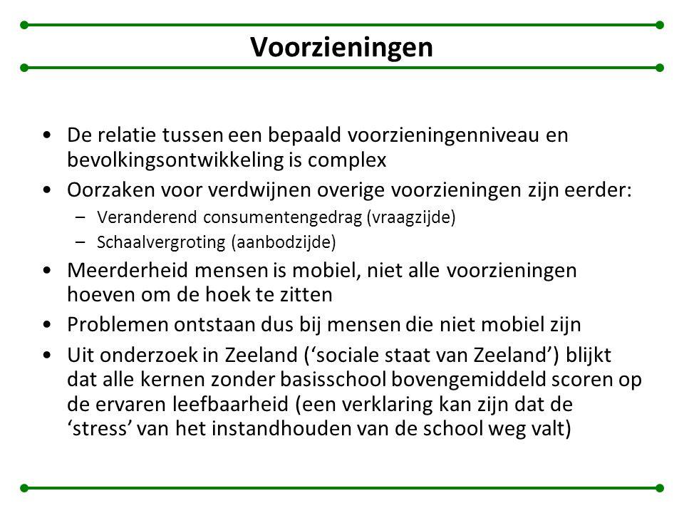 De relatie tussen een bepaald voorzieningenniveau en bevolkingsontwikkeling is complex Oorzaken voor verdwijnen overige voorzieningen zijn eerder: –Veranderend consumentengedrag (vraagzijde) –Schaalvergroting (aanbodzijde) Meerderheid mensen is mobiel, niet alle voorzieningen hoeven om de hoek te zitten Problemen ontstaan dus bij mensen die niet mobiel zijn Uit onderzoek in Zeeland ('sociale staat van Zeeland') blijkt dat alle kernen zonder basisschool bovengemiddeld scoren op de ervaren leefbaarheid (een verklaring kan zijn dat de 'stress' van het instandhouden van de school weg valt)