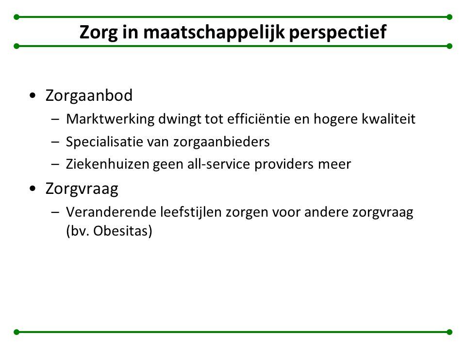 Zorg in maatschappelijk perspectief Zorgaanbod –Marktwerking dwingt tot efficiëntie en hogere kwaliteit –Specialisatie van zorgaanbieders –Ziekenhuize