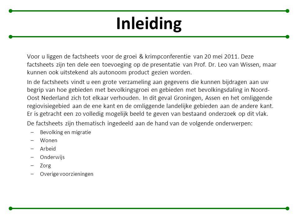 Inleiding Voor u liggen de factsheets voor de groei & krimpconferentie van 20 mei 2011. Deze factsheets zijn ten dele een toevoeging op de presentatie