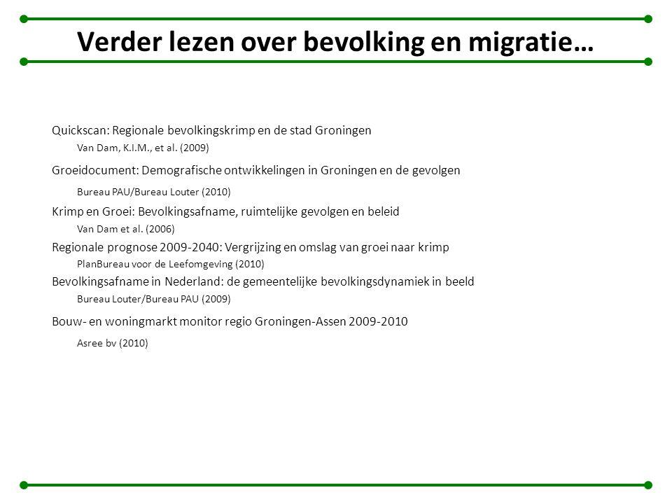 Verder lezen over bevolking en migratie… Quickscan: Regionale bevolkingskrimp en de stad Groningen Van Dam, K.I.M., et al. (2009) Groeidocument: Demog