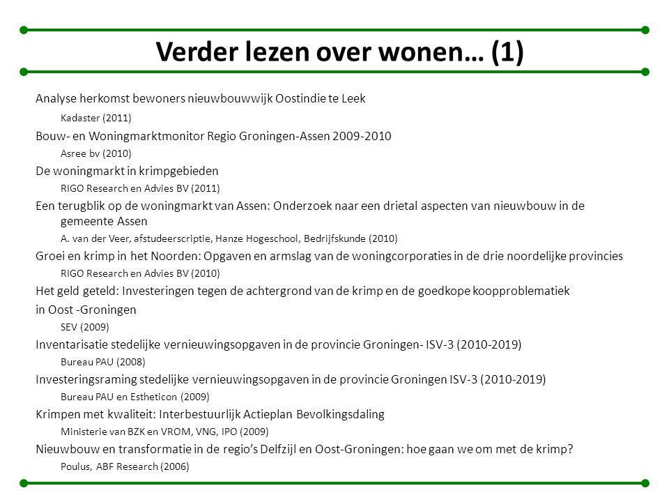 Verder lezen over wonen… (1) Analyse herkomst bewoners nieuwbouwwijk Oostindie te Leek Kadaster (2011) Bouw- en Woningmarktmonitor Regio Groningen-Ass
