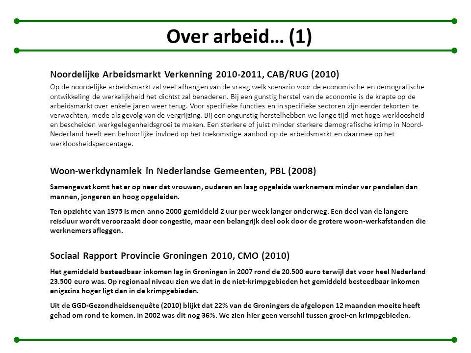 Over arbeid… (1) Noordelijke Arbeidsmarkt Verkenning 2010-2011, CAB/RUG (2010) Op de noordelijke arbeidsmarkt zal veel afhangen van de vraag welk scen
