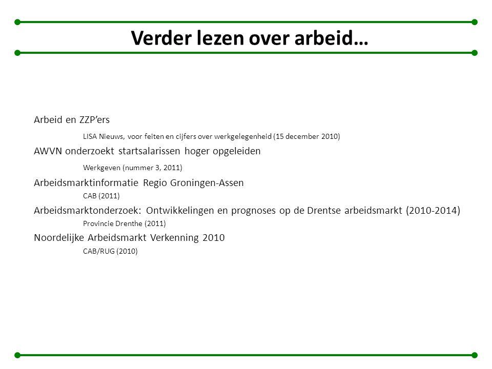 Verder lezen over arbeid… Arbeid en ZZP'ers LISA Nieuws, voor feiten en cijfers over werkgelegenheid (15 december 2010) AWVN onderzoekt startsalarisse