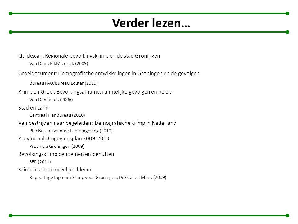 Verder lezen… Quickscan: Regionale bevolkingskrimp en de stad Groningen Van Dam, K.I.M., et al. (2009) Groeidocument: Demografische ontwikkelingen in