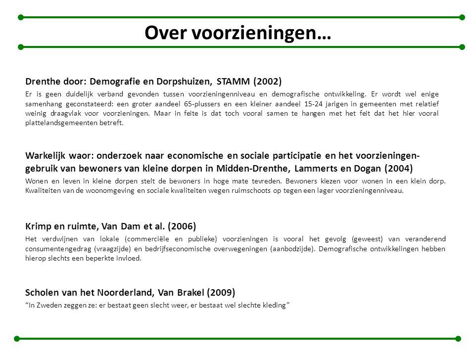 Over voorzieningen… Drenthe door: Demografie en Dorpshuizen, STAMM (2002) Er is geen duidelijk verband gevonden tussen voorzieningenniveau en demograf