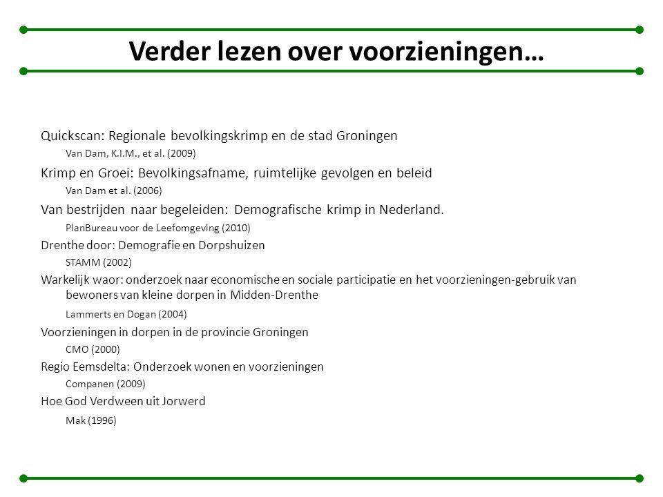 Verder lezen over voorzieningen… Quickscan: Regionale bevolkingskrimp en de stad Groningen Van Dam, K.I.M., et al. (2009) Krimp en Groei: Bevolkingsaf