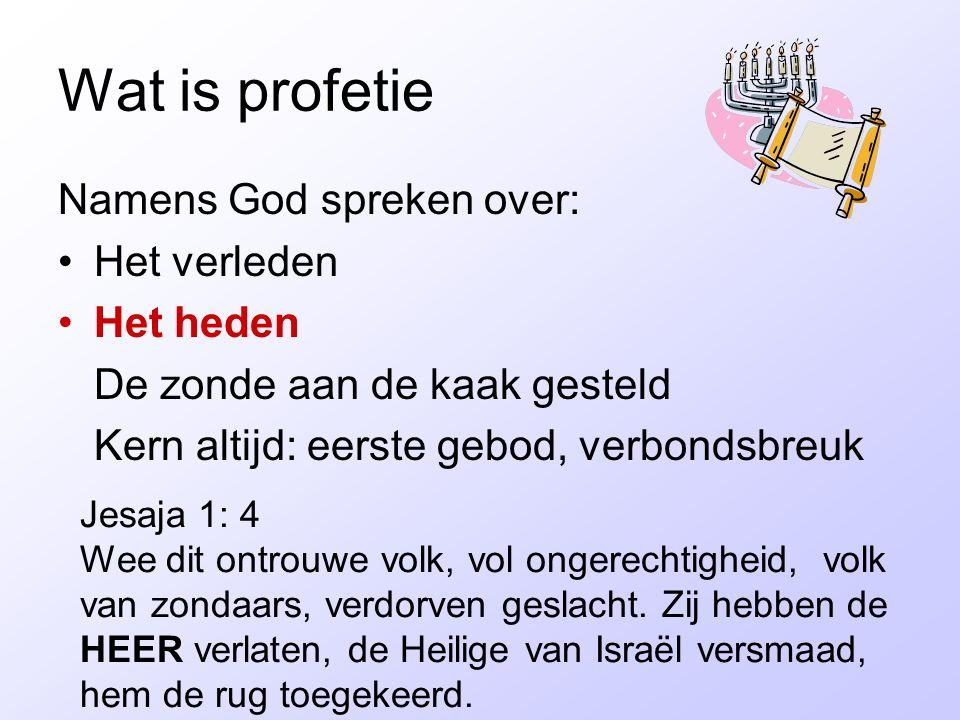 Wat is profetie Namens God spreken over: Het verleden Het heden De zonde aan de kaak gesteld Kern altijd: eerste gebod, verbondsbreuk Jesaja 1: 4 Wee