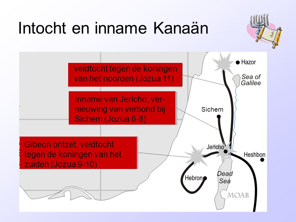 Intocht en inname Kanaän veldtocht tegen de koningen van het noorden (Jozua 11) Inname van Jericho, ver- nieuwing van verbond bij Sichem (Jozua 6-8) Gibeon ontzet, veldtocht tegen de koningen van het zuiden (Jozua 9-10) Sichem