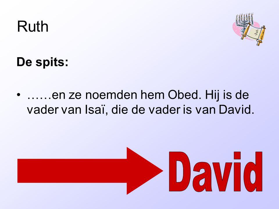 Ruth De spits: ……en ze noemden hem Obed. Hij is de vader van Isaï, die de vader is van David.