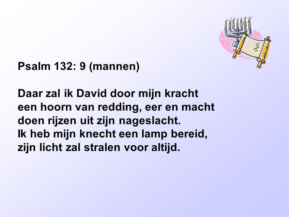Psalm 132: 9 (mannen) Daar zal ik David door mijn kracht een hoorn van redding, eer en macht doen rijzen uit zijn nageslacht. Ik heb mijn knecht een l