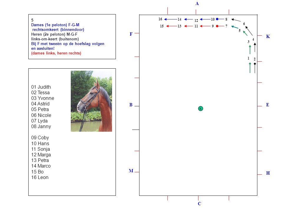 1 2 3 4 5 6 8 7 9 10 11 12 13 14 15 16 5 Dames (1e peloton) F-G-M rechtsomkeert (binnendoor) Heren (2e peloton) M-G-F links-om-keert (buitenom) Bij F met tweeën op de hoefslag volgen en aasluiten.