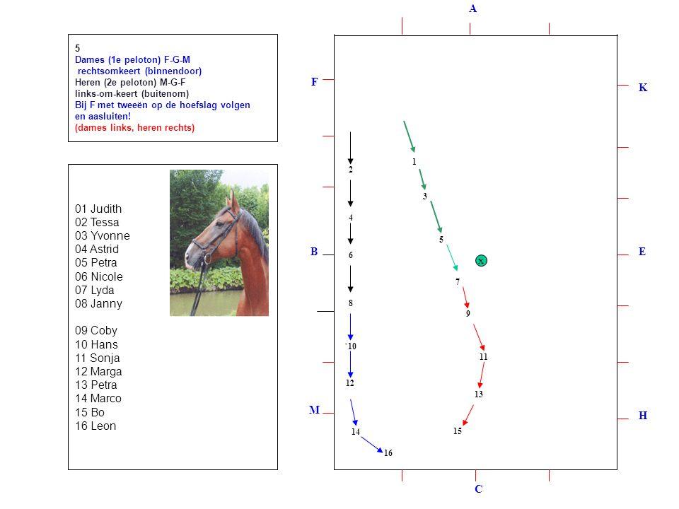 1 2 3 4 5 6 8 7 9 `10 11 12 13 14 15 16 5 Dames (1e peloton) F-G-M rechtsomkeert (binnendoor) Heren (2e peloton) M-G-F links-om-keert (buitenom) Bij F