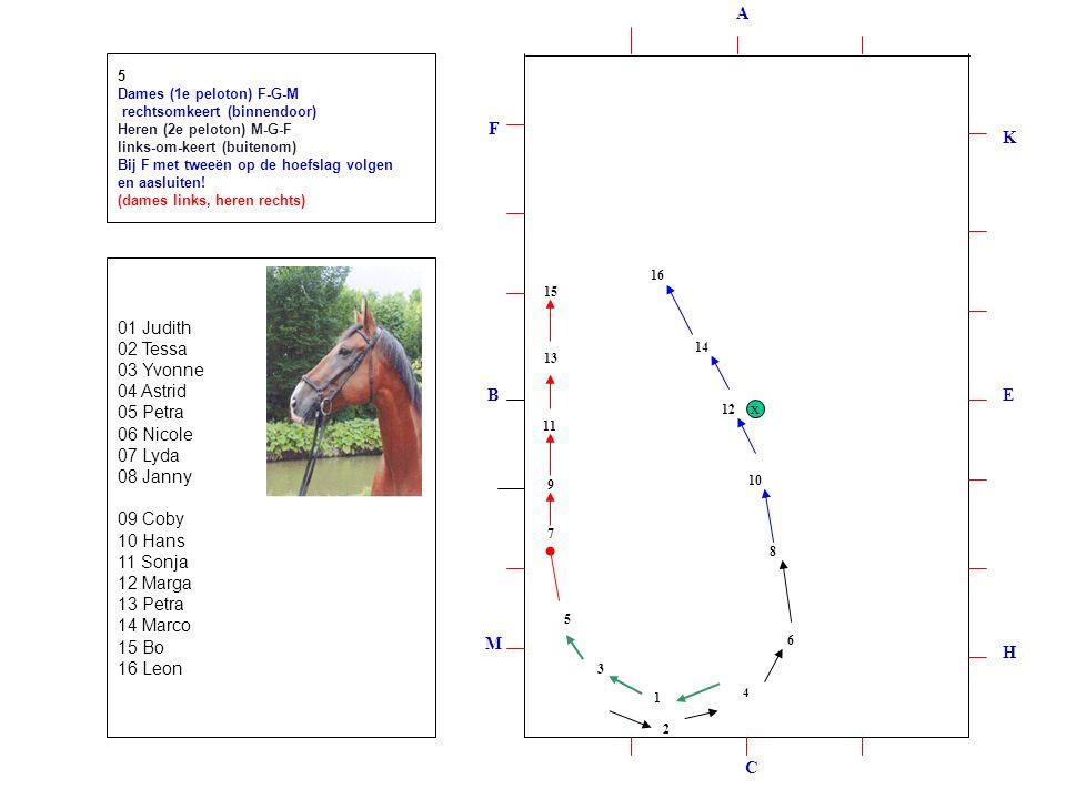 2 4 1 6 3 8 5 10 7 9 11 12 13 14 15 16 5 Dames (1e peloton) F-G-M rechtsomkeert (binnendoor) Heren (2e peloton) M-G-F links-om-keert (buitenom) Bij F met tweeën op de hoefslag volgen en aasluiten.