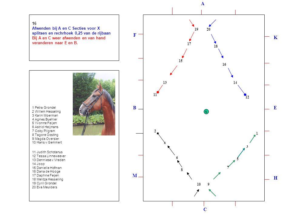 1 2 3 4 5 6 7 8 910 12 11 1314 15 16 17 18 1920 16 Afwenden bij A en C Secties voor X splitsen en rechrhoek 0,25 van de rijbaan Bij A en C weer afwenden en van hand veranderen naar E en B.