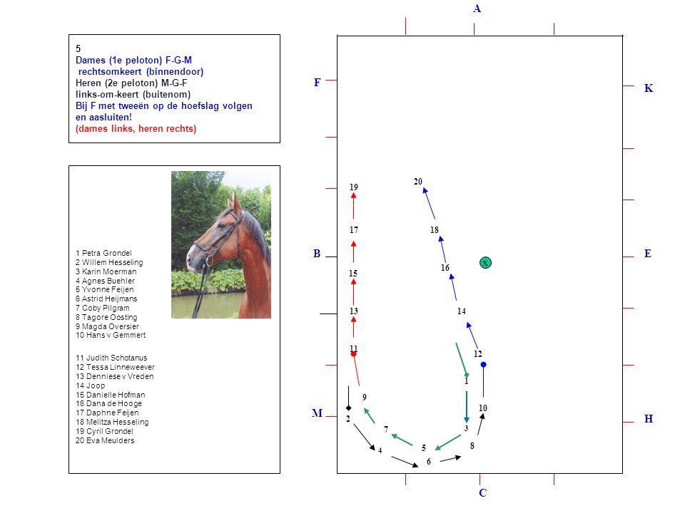 1 2 3 4 5 6 7 8 9 10 12 11 1314 15 16 1718 19 20 5 Dames (1e peloton) F-G-M rechtsomkeert (binnendoor) Heren (2e peloton) M-G-F links-om-keert (buitenom) Bij F met tweeën op de hoefslag volgen en aasluiten.