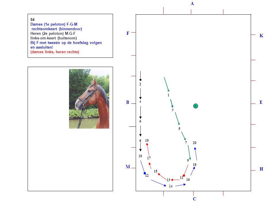 1 2 3 4 5 6 7 8 9 10 12 11 1314 15 16 1718 19 20 84 Dames (1e peloton) F-G-M rechtsomkeert (binnendoor) Heren (2e peloton) M-G-F links-om-keert (buitenom) Bij F met tweeën op de hoefslag volgen en aasluiten.