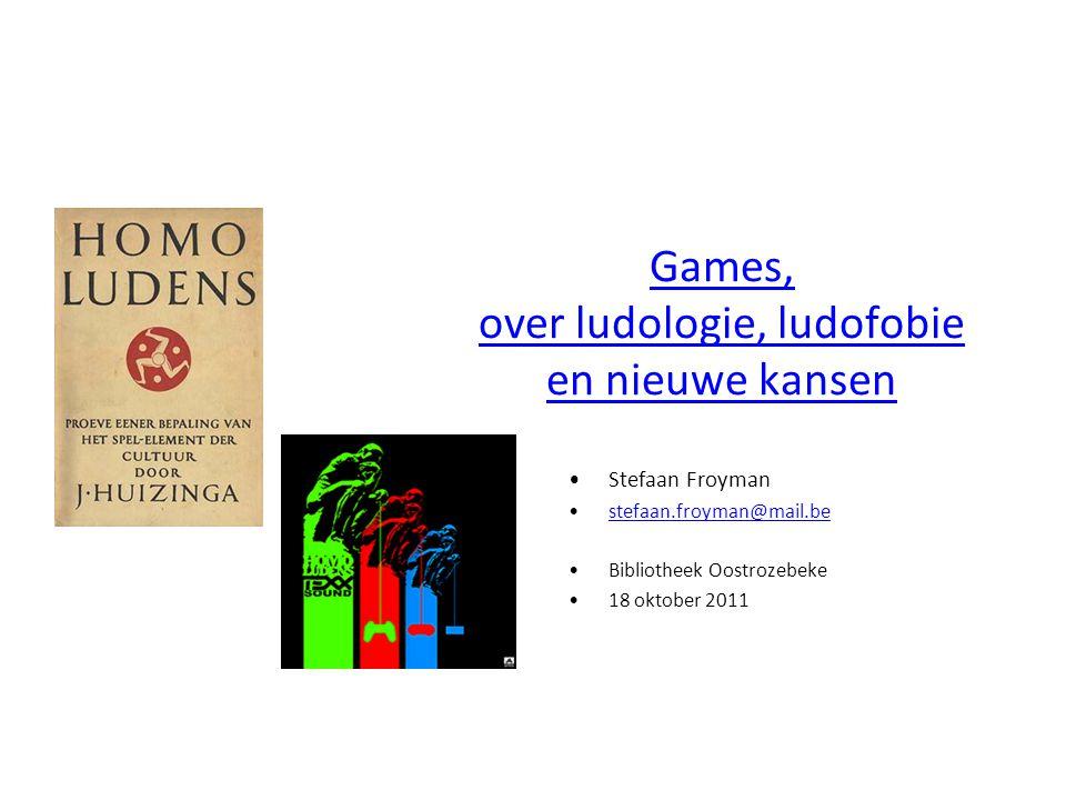 Overzicht Games als cultuurfenomeen (ludologie) – Een medium in zijn puberteit Ludofobie Aanbod games (consoles, genres, etc.) Games en educatie NICAM, PEGI, BEA Games en bibliotheken Games in bibliotheken