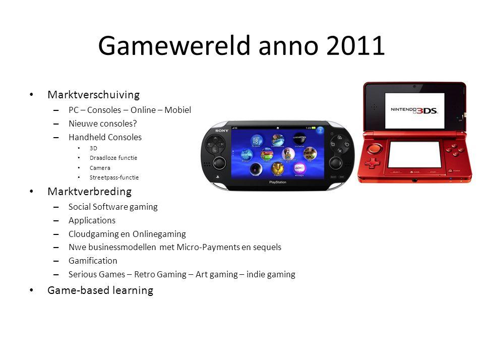 Gamewereld anno 2011 Marktverschuiving – PC – Consoles – Online – Mobiel – Nieuwe consoles? – Handheld Consoles 3D Draadloze functie Camera Streetpass