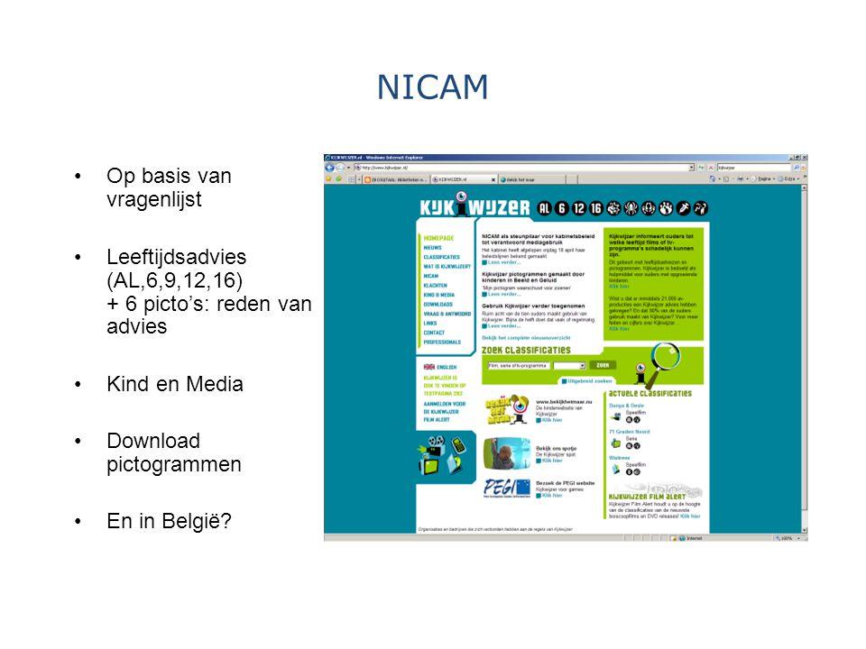 NICAM Op basis van vragenlijst Leeftijdsadvies (AL,6,9,12,16) + 6 picto's: reden van advies Kind en Media Download pictogrammen En in België?