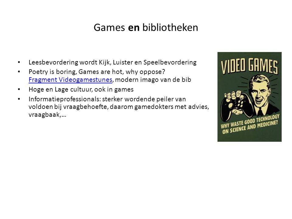 Games en bibliotheken Leesbevordering wordt Kijk, Luister en Speelbevordering Poetry is boring, Games are hot, why oppose.