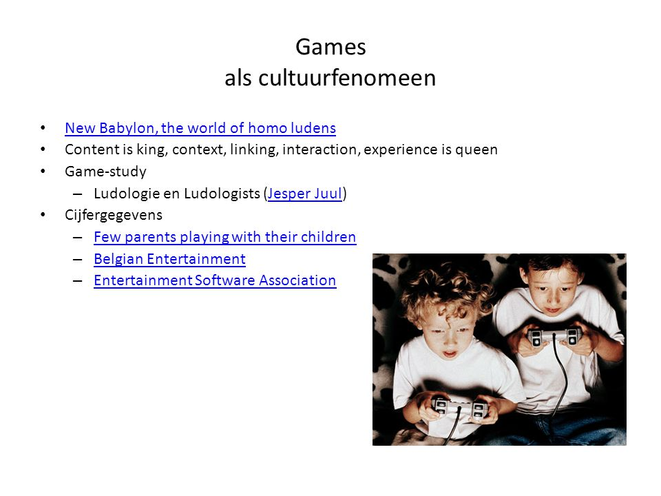 New Babylon, the world of homo ludens Content is king, context, linking, interaction, experience is queen Game-study – Ludologie en Ludologists (Jespe