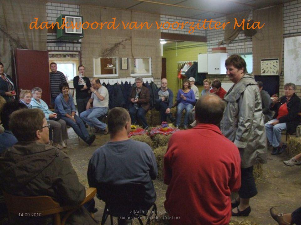 14-09-201040 ZijActief Koningslust Excursie Zorgtuinderij 'de Lorr' dankwoord van voorzitter Mia