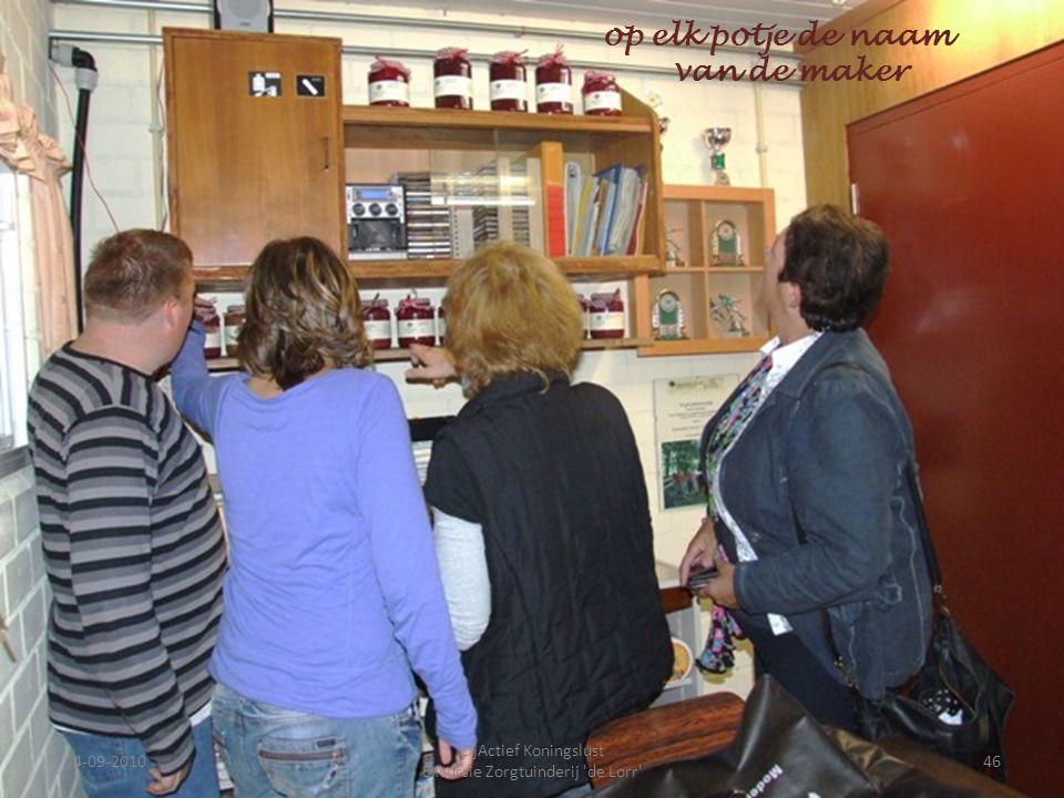 14-09-201046 ZijActief Koningslust Excursie Zorgtuinderij 'de Lorr' op elk potje de naam van de maker
