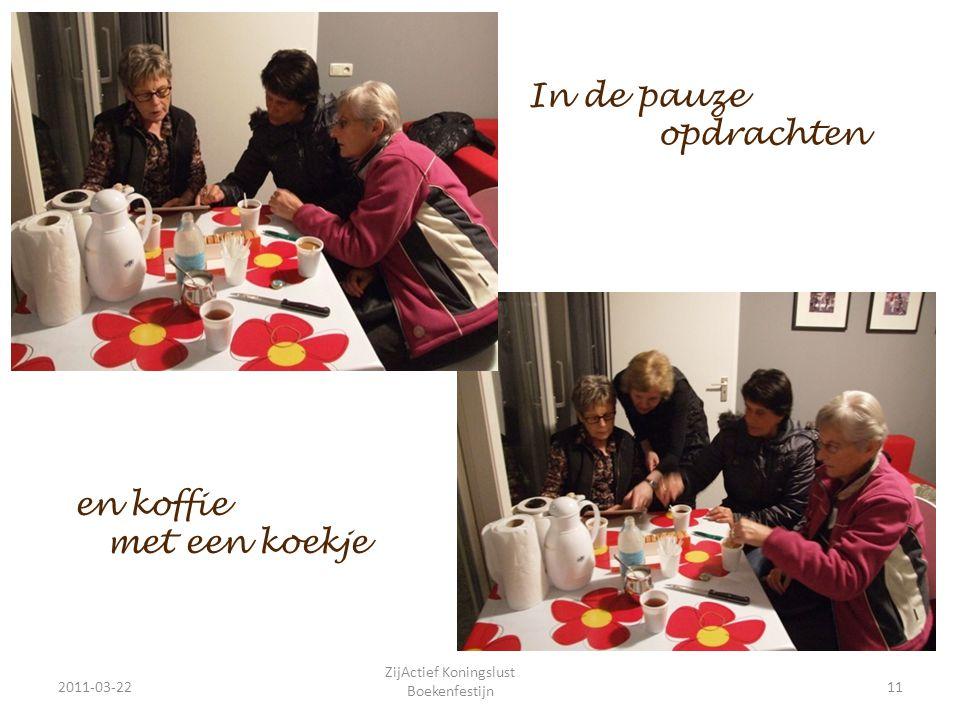 In de pauze opdrachten 2011-03-2211 ZijActief Koningslust Boekenfestijn en koffie met een koekje