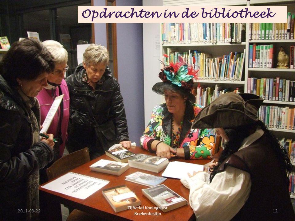2011-03-2212 ZijActief Koningslust Boekenfestijn Opdrachten in de bibliotheek
