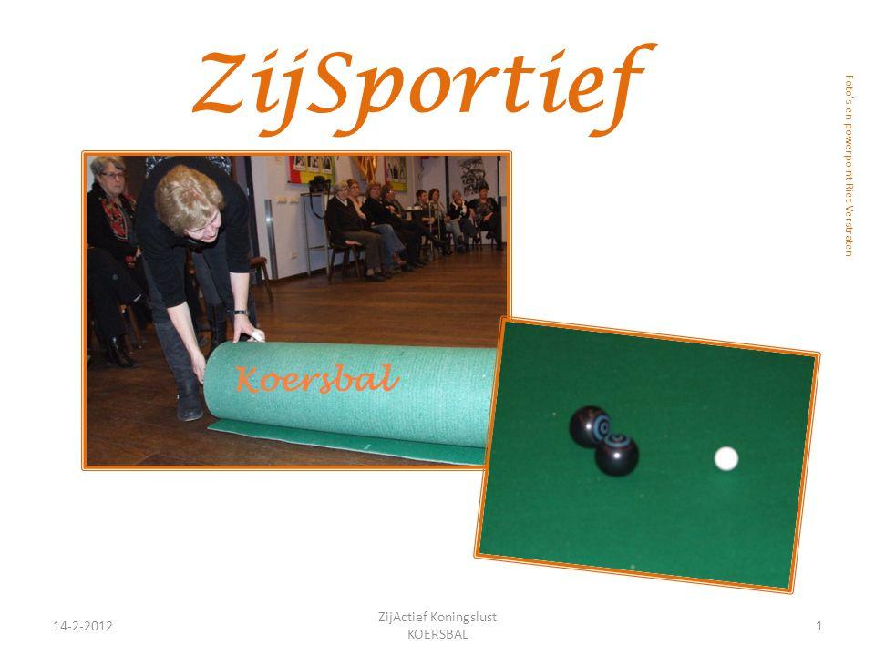 ZijSportief 14-2-20121 ZijActief Koningslust KOERSBAL Foto's en powerpoint Riet Verstraten