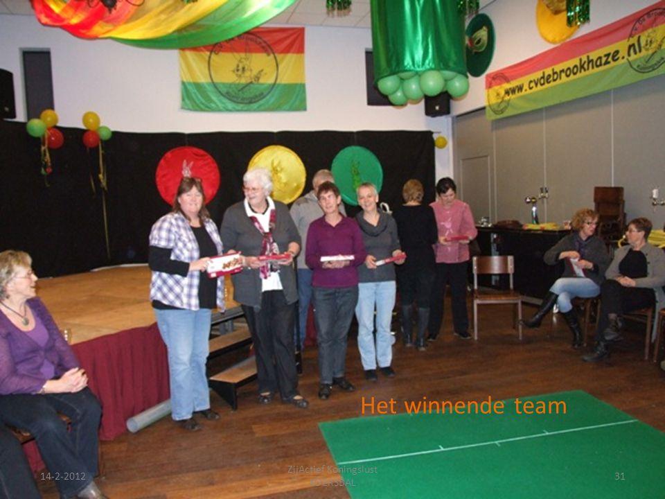 14-2-201231 ZijActief Koningslust KOERSBAL Het winnende team