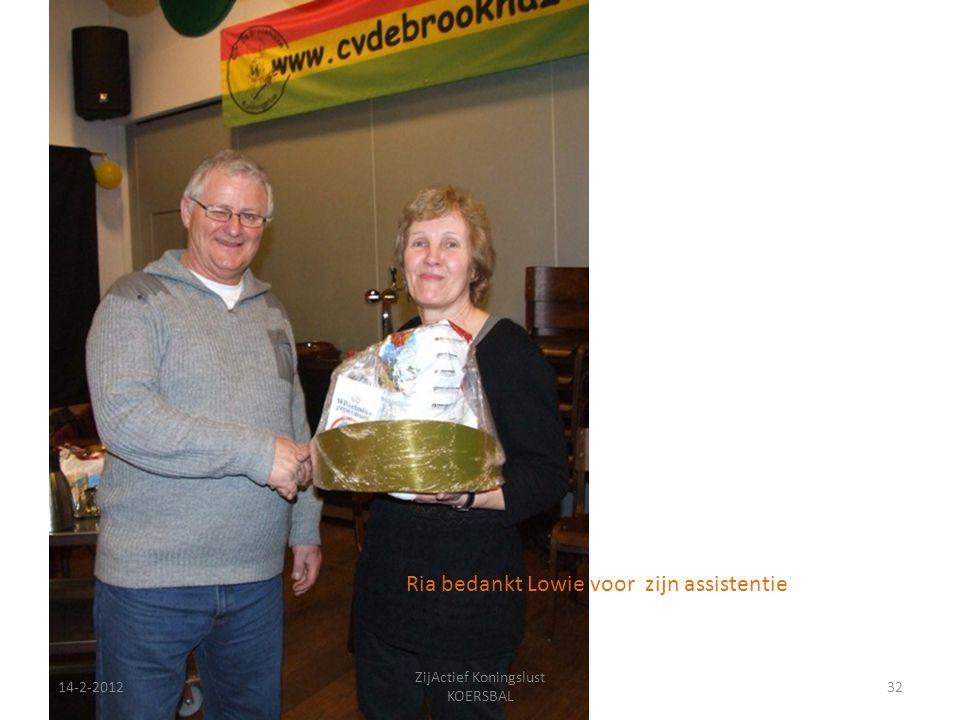 14-2-201232 ZijActief Koningslust KOERSBAL Ria bedankt Lowie voor zijn assistentie
