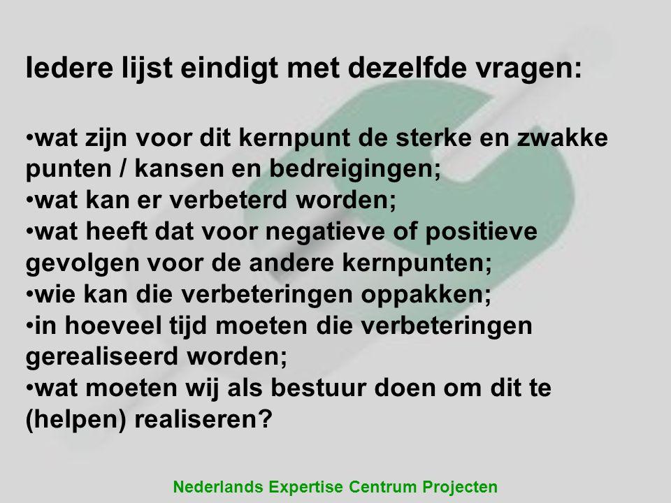 Nederlands Expertise Centrum Projecten Iedere lijst eindigt met dezelfde vragen: wat zijn voor dit kernpunt de sterke en zwakke punten / kansen en bed