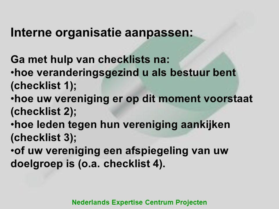 Nederlands Expertise Centrum Projecten Interne organisatie aanpassen: Ga met hulp van checklists na: hoe veranderingsgezind u als bestuur bent (checkl