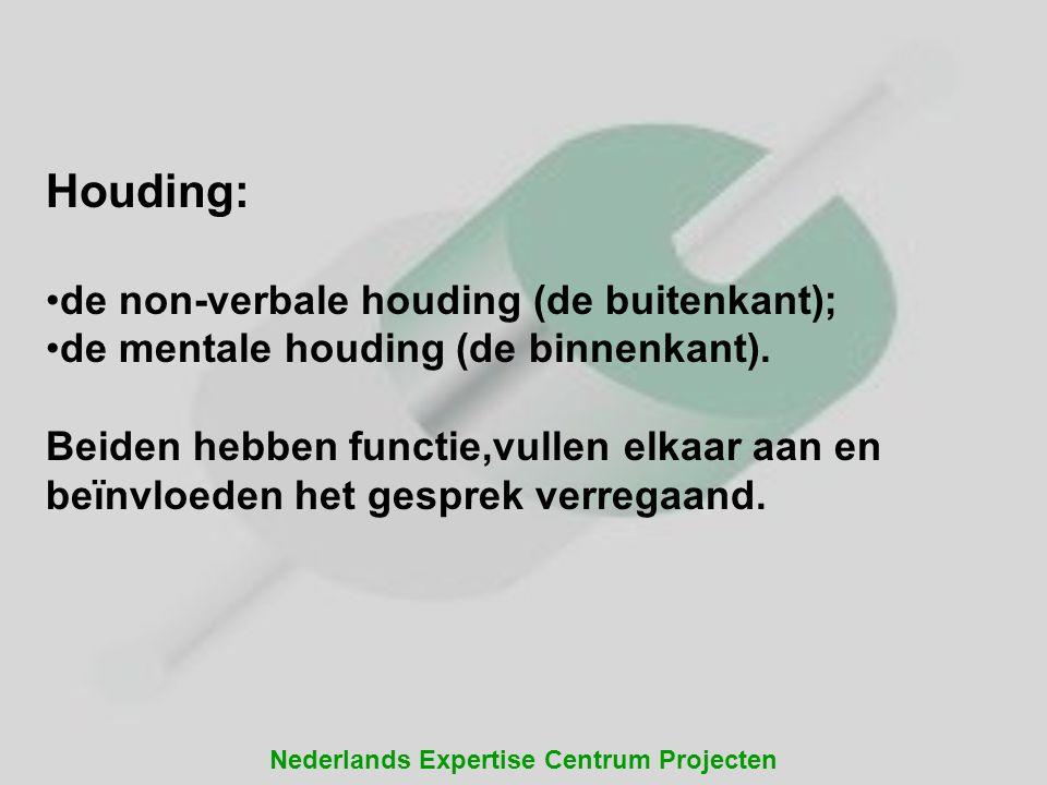 Nederlands Expertise Centrum Projecten Houding: de non-verbale houding (de buitenkant); de mentale houding (de binnenkant). Beiden hebben functie,vull