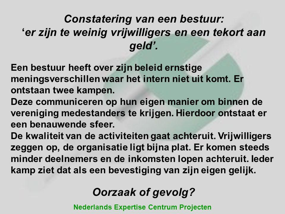 Nederlands Expertise Centrum Projecten Constatering van een bestuur: 'er zijn te weinig vrijwilligers en een tekort aan geld'. Een bestuur heeft over