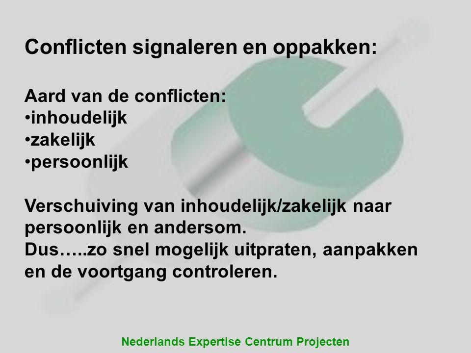 Nederlands Expertise Centrum Projecten Conflicten signaleren en oppakken: Aard van de conflicten: inhoudelijk zakelijk persoonlijk Verschuiving van in