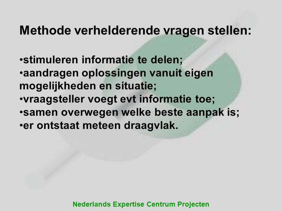 Nederlands Expertise Centrum Projecten Methode verhelderende vragen stellen: stimuleren informatie te delen; aandragen oplossingen vanuit eigen mogeli