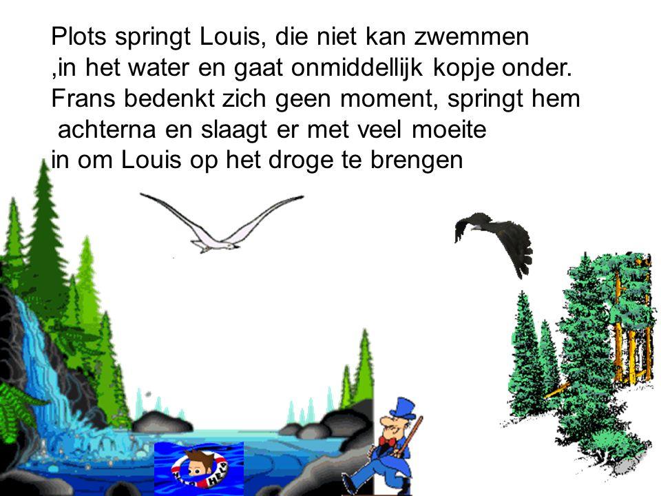 Plots springt Louis, die niet kan zwemmen,in het water en gaat onmiddellijk kopje onder.