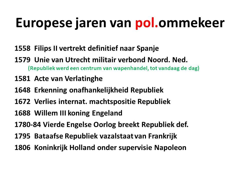 Europese jaren van pol.ommekeer 1558 Filips II vertrekt definitief naar Spanje 1579 Unie van Utrecht militair verbond Noord. Ned. (Republiek werd een